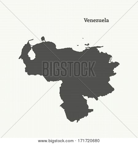 Outline map of Venezuela. Isolated vector illustration.