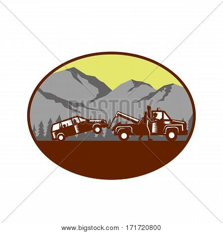 Illustration of a car being towed away people in the car child looking looking out the back window with man walking beside tow truck talking to driver set inside oval shape with mountain and trees in the background done in retro woodcut style.