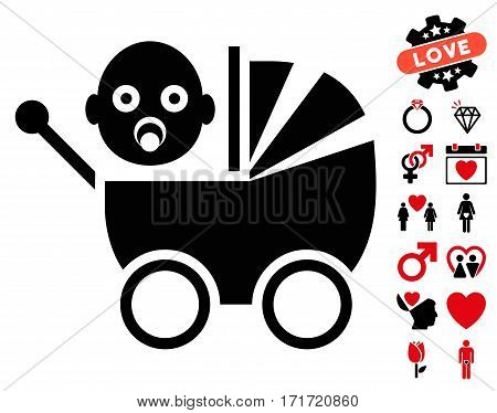 Baby Carriage icon with bonus marriage graphic icons. Vector illustration style is flat iconic intensive red and black symbols on white background.