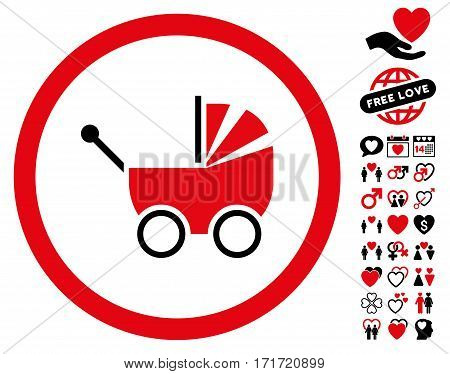Baby Carriage pictograph with bonus marriage design elements. Vector illustration style is flat iconic intensive red and black symbols on white background.