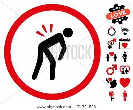 Backache icon with bonus decorative symbols. Vector illustration style is flat iconic intensive red and black symbols on white background.