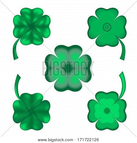 Set of five shamrocks with four petals to the St. Patricks day