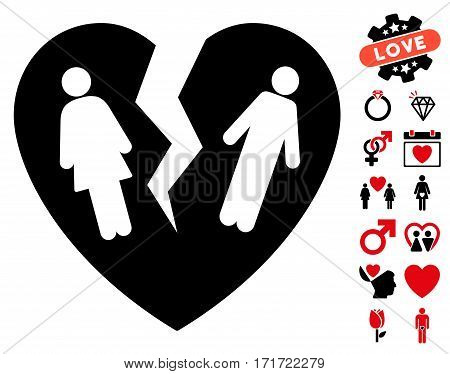 Broken Family Heart icon with bonus decorative symbols. Vector illustration style is flat iconic intensive red and black symbols on white background.
