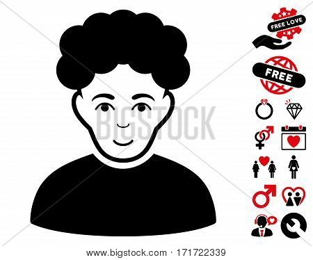 Brunet Man pictograph with bonus love graphic icons. Vector illustration style is flat iconic intensive red and black symbols on white background.