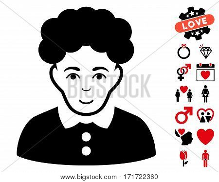 Brunette Woman pictograph with bonus marriage symbols. Vector illustration style is flat iconic intensive red and black symbols on white background.