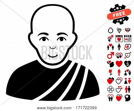 Buddhist Monk pictograph with bonus valentine pictograms. Vector illustration style is flat iconic intensive red and black symbols on white background.