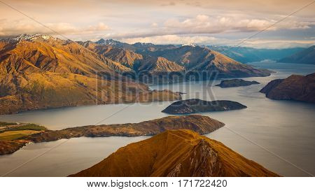 Beautiful Sunrise Landscape View From Roy's Peak, New Zealand