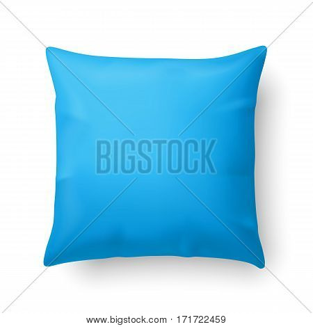 Close Up of a Cyan Pillow Isolated on White Background