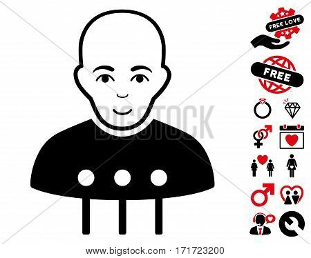 Cyborg Interface pictograph with bonus marriage graphic icons. Vector illustration style is flat iconic intensive red and black symbols on white background.