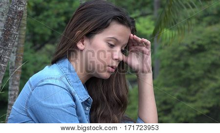 A Distraught Confused And Anxious Teen Girl poster