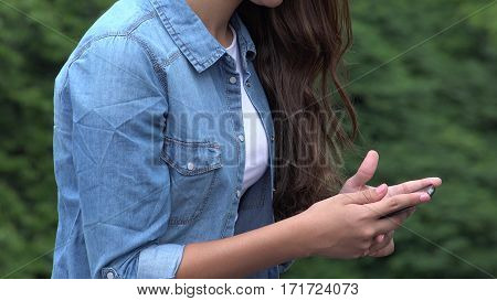 Close Up of Girl Using Smart Phone