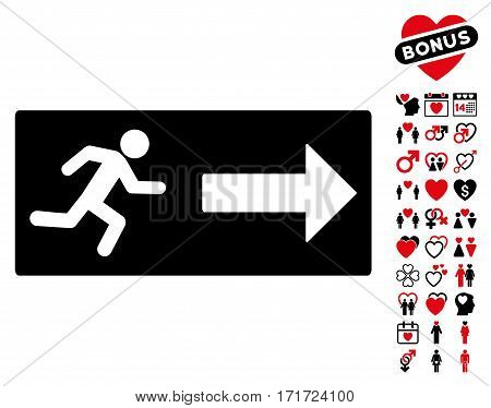Emergency Exit pictograph with bonus amour pictograph collection. Vector illustration style is flat iconic intensive red and black symbols on white background.
