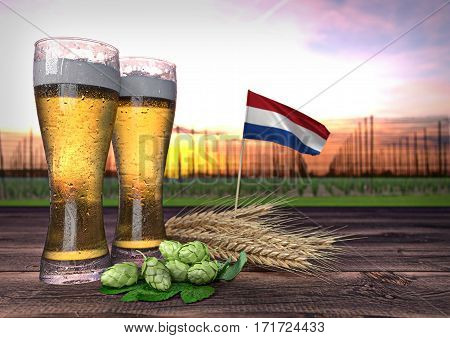 concept of beer consumption in Netherlands - 3D render