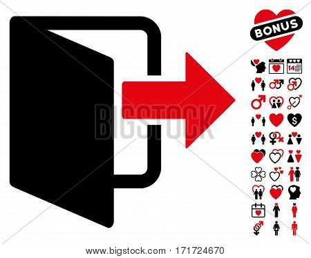 Exit Door pictograph with bonus dating pictograph collection. Vector illustration style is flat iconic intensive red and black symbols on white background.