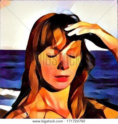 Young woman with heatstroke digital illustration sunstroke on a beach healthy lifestyle on vacation medicine on vacation dangerous sun beach life girl under sun holiday health
