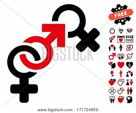 Faith Breach pictograph with bonus dating pictograms. Vector illustration style is flat iconic intensive red and black symbols on white background.