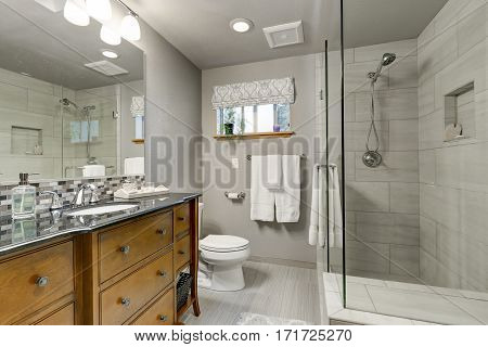Grey Bathroom Interior With Glass Walk In Shower