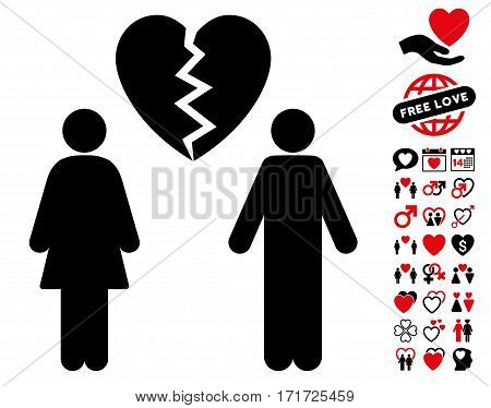 Family Divorce pictograph with bonus love pictograph collection. Vector illustration style is flat iconic intensive red and black symbols on white background.