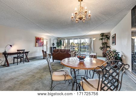 Open Concept Living And Dining Area In Apartment