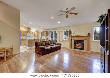 Spacious Living Room With Tall Ceiling