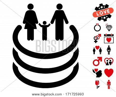 Family Portal icon with bonus valentine pictures. Vector illustration style is flat iconic intensive red and black symbols on white background.