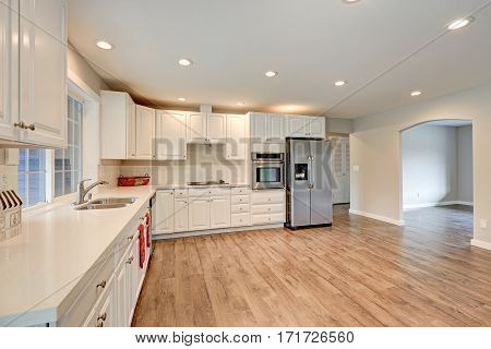 New Kitchen Interior With White Cabinets