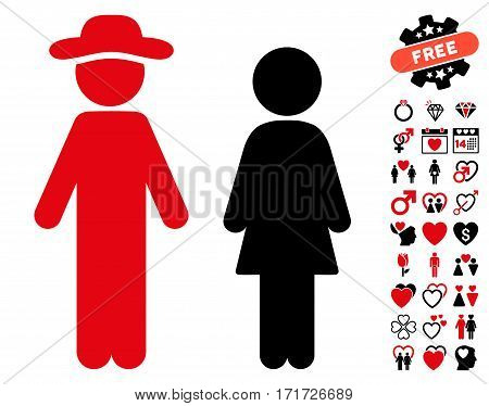 Gentleman And Lady pictograph with bonus marriage icon set. Vector illustration style is flat iconic intensive red and black symbols on white background.