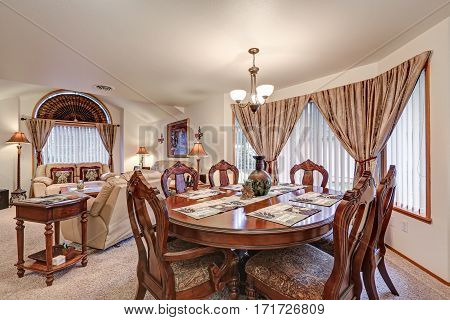 Beautiful Formal Dining And Living Room Interior. Northwest, Usa