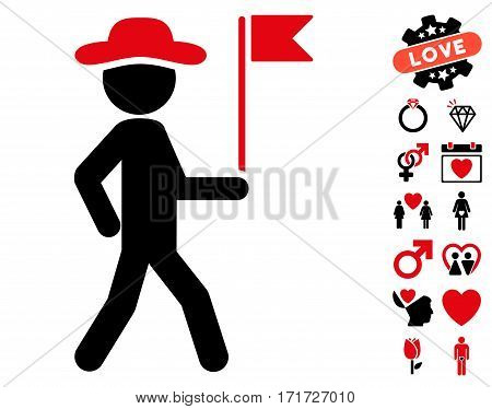 Gentleman Flag Guide pictograph with bonus decoration icon set. Vector illustration style is flat iconic intensive red and black symbols on white background.