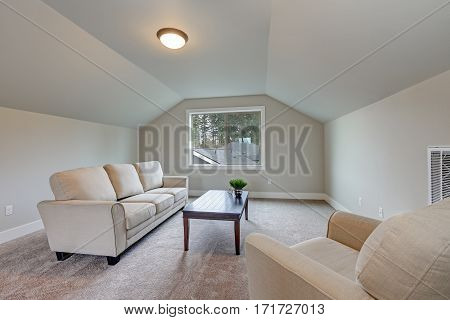 Vaulted Ceiling Family Room Interior With Grey Paint Color