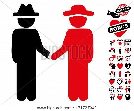Gentleman Handshake icon with bonus passion icon set. Vector illustration style is flat iconic intensive red and black symbols on white background.