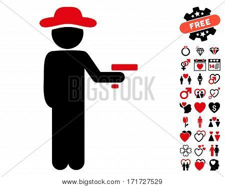 Gentleman Robber icon with bonus lovely images. Vector illustration style is flat iconic intensive red and black symbols on white background.