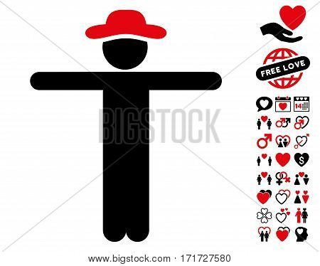 Gentleman Scarescrow icon with bonus passion clip art. Vector illustration style is flat iconic intensive red and black symbols on white background.
