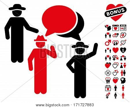 Gentlemen Discussion pictograph with bonus marriage pictograph collection. Vector illustration style is flat iconic intensive red and black symbols on white background.