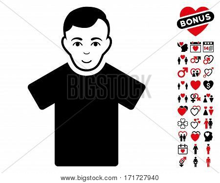 Guy pictograph with bonus amour images. Vector illustration style is flat iconic intensive red and black symbols on white background.