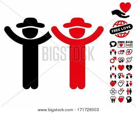 Hands Up Gentlemen icon with bonus marriage design elements. Vector illustration style is flat iconic intensive red and black symbols on white background.