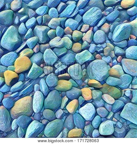 Stone background Digital illustration. Rocky backdrop or tile. Stone pile from beach. Small pebble stones mosaic wall or path. Bright natural texture. Square decor element in blue and yellow