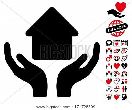 Home Care Hands icon with bonus amour symbols. Vector illustration style is flat iconic intensive red and black symbols on white background.