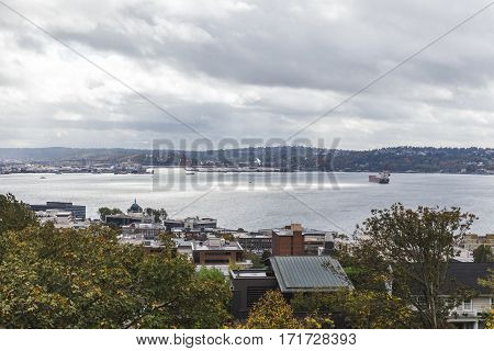 View of water from Kerry Park in Seattle Washington USA