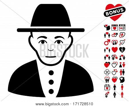 Jew icon with bonus lovely images. Vector illustration style is flat iconic intensive red and black symbols on white background.