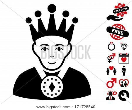 King icon with bonus marriage pictograph collection. Vector illustration style is flat iconic intensive red and black symbols on white background.