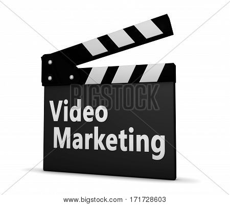 Video marketing sign on clapper board 3d illustration.