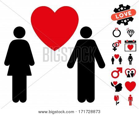 Love Couple pictograph with bonus marriage pictograph collection. Vector illustration style is flat iconic intensive red and black symbols on white background.