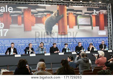 Merab Ninidze, Irakli Quiricadze, Rezo Gigineishvili attend the 'Hostages' press conference during the 67th Berlinale  Festival Berlin at Grand Hyatt Hotel on February 15, 2017 in Berlin, Germany.