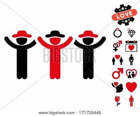 Gentlemen Hands Up Roundelay pictograph with bonus valentine graphic icons. Vector illustration style is flat iconic intensive red and black symbols on white background.