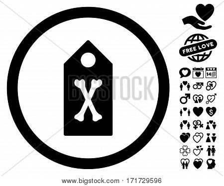 Dead Marker pictograph with bonus decorative clip art. Vector illustration style is flat iconic black symbols on white background.