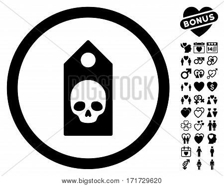 Death Coupon pictograph with bonus lovely images. Vector illustration style is flat iconic black symbols on white background.