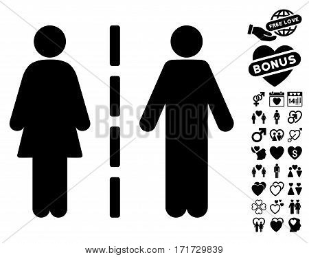 Divorce Line icon with bonus decoration pictograms. Vector illustration style is flat iconic black symbols on white background.