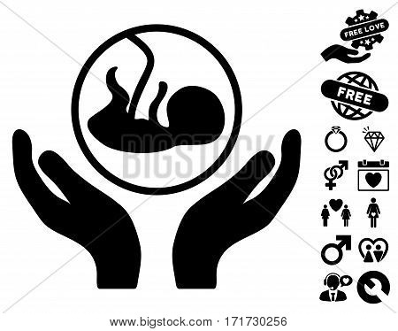 Embryo Care Hands icon with bonus amour clip art. Vector illustration style is flat iconic black symbols on white background.