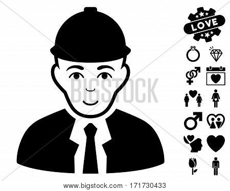 Engineer pictograph with bonus amour pictures. Vector illustration style is flat iconic black symbols on white background.